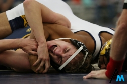 Kent State Tuscawarus' Ray Velez struggles against Kent State's Tomas Gutierrez during their bout at the KSU Duals in Kent, Ohio on Nov. 2, 2018. Kent State won three duals and only lost the last to a nationally ranked division 2 Ashland University.