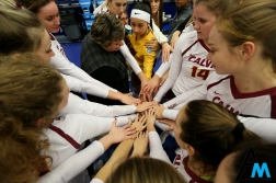Calvin College's volleyball team prepares for the NCAA Division 3 Championship game against Emory University in Pittsburgh, Pennsylvania on Nov. 17, 2018. The Knights lost in straight sets to the Eagles and finished the season as the runners up.