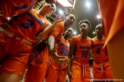 The Florida Gator's women's basketball team huddles before the game at Ohio State on Dec. 16, 2018.