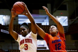 Ohio State's freshman guard Janai Crooms and Florida's redshirt junior forward Zada Williams battle for a rebound during the game at Ohio State on Dec. 16, 2018.