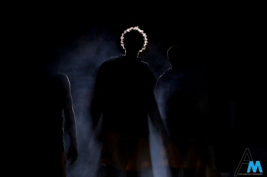 Kent State University's senior forward Akiean Frederick stands in the light during team introductions before a game against Bowling Green State University on Jan. 5, 2019. Bowling Green won the game 86-64.