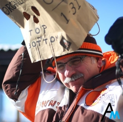 """Gene Hauck places a bag on his head before the start of the Cleveland Brown's """"perfect season"""" parade outside First Energy Stadium in Cleveland, Ohio on Jan. 6, 2017. The Browns had become only the second team in NFL history to go an entire season without winning a single game preceded only by the Detroit Lions in 2008."""