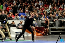 University of Iowa's head wrestling coach Tom Brands celebrates after freshman Spencer Lee defeated Ohio State's Nathan Tomasello in the semifinal round of the NCAA Wrestling Tournament in Cleveland, Ohio on March 16, 2018. Lee went on to defeat Rutgers' Nick Suriano to claim the national championship title.