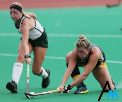 Kent State University's senior forward Courtney Weise and Michigan State University's junior forward Maggie Cole reach for the ball during a game at Michigan State University on August 26, 2018. Michigan State won 3-2 in a nail biter overtime game.