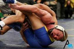 University of Iowa's Max Murin works to pin Cal State Bakersfield's Carlos Herrera during a dual at Kent State University on Nov. 9, 2018. Murin won the bout in an 18-4 major decision which helped the Hawkeyes to a decisive 36-3 victory over Cal State Bakersfield and a 45-0 victory over Kent State.