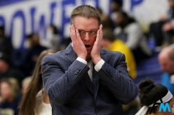Kent State University's head women's basketball coach Todd Starkey reacts to a play during the team's 72-77 upset loss to Duquesne University on Nov. 28, 2018. Kent State was heavily favored and shocked by the loss.