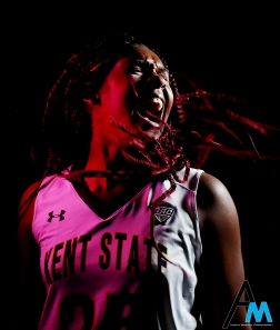 Kent State University's sophomore forward Monique Smith poses for a portrait in the M.A.C Center at Kent State University. The portrait is part of a story for Prizm Magazine in Columbus, Ohio about LGBTQ athletes. Mo is bisexual and the centerpiece to the story.