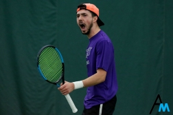 Niagara University's Bruno Goncalves reacts to a play during the match against Edinboro on Feb. 10, 2019.