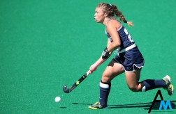 Penn State junior midfielder Gini Bramly runs with the ball during a game in Kent, Ohio on Sunday, Oct. 1, 2017.