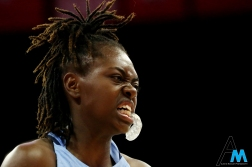 University of North Carolina's junior guard Shalya Bennett grimaces in pain after a nasty fall during the game at Ohio State University on Thursday, Nov. 29, 2018. The Tarheels led at half but the Buckeyes came back to win by 7.