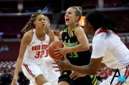 University of South Florida's senior wing Kitija Laksa drives to the basket against Ohio State's freshman forward Aaliyah Patty during the game at Ohio State on Nov. 6, 2018. The Bulls won 71-47 in a decisive start to the season.