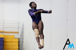 Kent State University's senior Dara Williams flies through the air while competing in the vault during a tri meet against North Carolina State and George Washington University on Feb. 24, 2019.