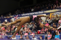 Kent State University's junior Jade Brown performs her floor routine during a meet against Western Michiagn Univeristy on March 1, 2019.