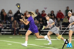 Niagara University's senior attack Rachel MacCheyne drives down the field during a game at Ohio State on March 3, 2019. The 16-12 loss was the Purple Eagle's first of the season.
