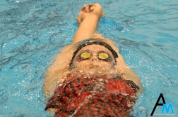 A swimmer from Ohio State University competes during the National Invitational Championship hosted by Cleveland State University on March 16, 2019.