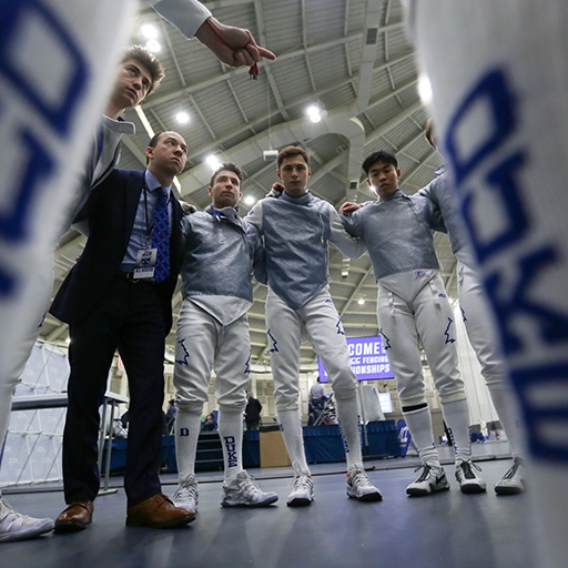 Duke's fencing team gathers before the start of the ACC Fencing Tournament at Notre Dame in South Bend, Indiana