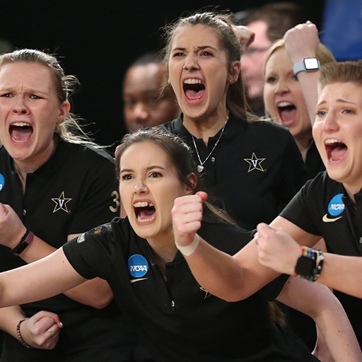 Vanderbilt University's Women's Bowling Team celebrates during the NCAA Championship near Cleveland, Ohio.